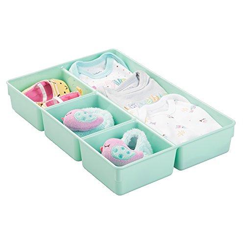 mDesign Baby Organizer – Aufbewahrungsbox für Lätzchen, Windeln und Schnuller – ideal für Kommoden, Schränke, Wickeltische und Schubladen – 4 Fächer, mintgrün