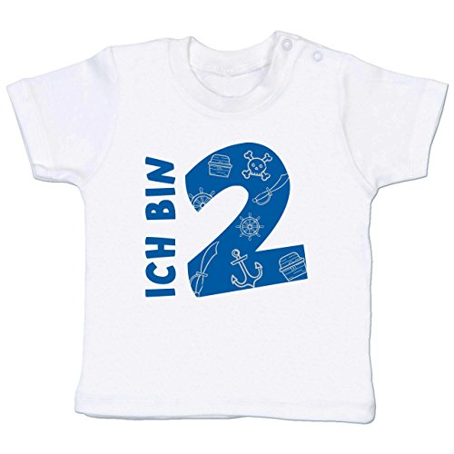 (Shirtracer Geburtstag Baby - Ich Bin 2 Piraten-Scribble - 12-18 Monate - Weiß - BZ02 - Babyshirt Kurzarm)