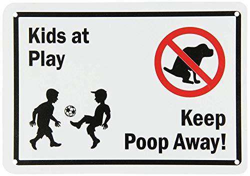 qidushop Yard Zaun Garage Dekoration Sign Kids at Play Keep Poop Away Schwarz Rot auf Weiß Sicherheit Metall Pet Schild Geschenk 18x 25cm