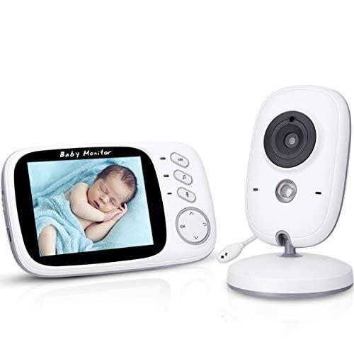 AWANFI Babyphone Caméra Vidéo sans Fil 3,2 Pouces Visiophone Bébé 2,4 GHz Caméra Surveillance Bébé avec Ecran Couleur LCD...