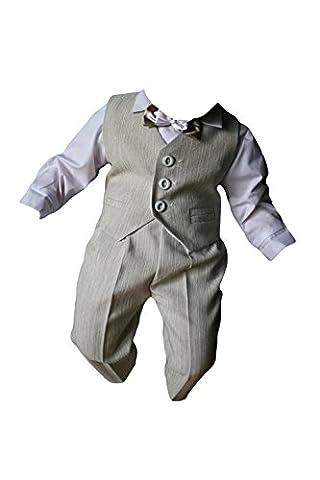 Taufanzug festanzug jungenanzug, 5-beige/blanc-bébé garçon baptême/mariage manteaux combinaison pour enfant