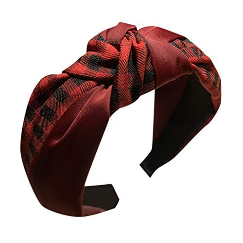 CANDLLY Stirnband Damen, Kopfbedeckung Zubehör Frauen Gestreiftes Karierten Leopard Bogen Stirnbands Haarband Haargurt Zubehörs Kopfschmuck (Rot-1,One size)