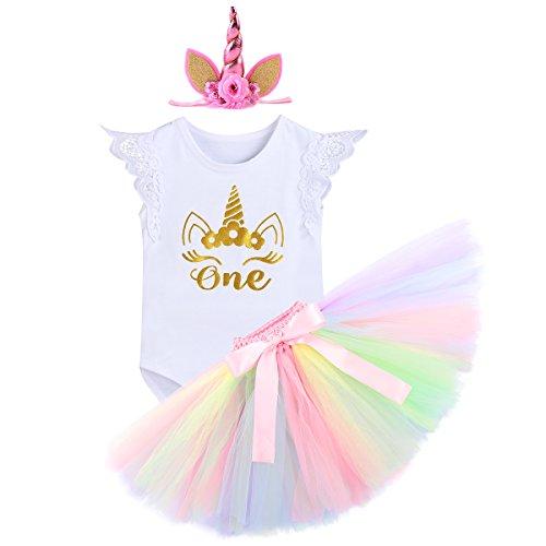 Baby Mädchen Einhorn Geburtstag Kostüm Kleinkinder 1. Geburtstag Outfit Neugeborenen Prinzessin Strampler Body Regenbogen Tütü Rock Einhorn Stirnband 3tlg Bekleidungssets für Fotografie ()