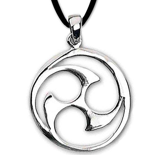 Anhänger keltische Triskele Dreierwirbel 925er Silber Schmuck mit Lederhalsband Schmucksäckchen und Karte - Schutzamulett - 832