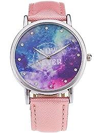 ZXMBIAO Reloj De Pulsera Moda Romántica Starry Sky Reloj Correa De Cuero Mujer  Relojes De Cuarzo 4988c1051f2c