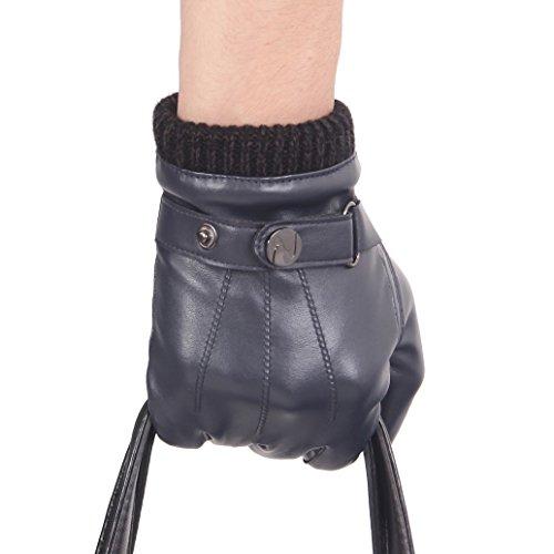 Brown Italienischen Leder Handgefertigt (Nappaglo ® Männer PU Lederhandschuhe Touchscreen - Handschuhe Mit Langen Fleecefutter Winter Fahren)