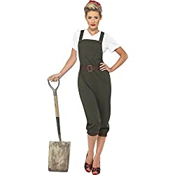 Smiffys WW2 Land Girl Costume,Green,M
