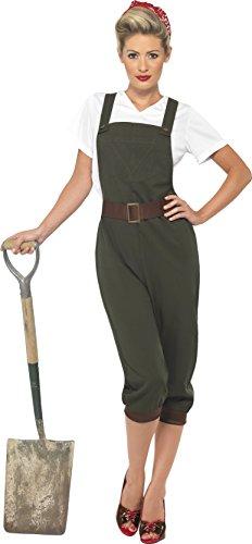Smiffys, Damen WW2 Landfrau Kostüm, Oberteil, Latzhose und Kopftuch, Größe: S, 39491