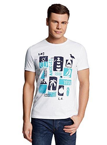 oodji Ultra Herren T-Shirt mit Sommerdruck, Weiß, L