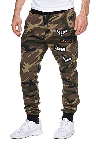 Herren Trainingshose Armee Army Camouflage Jogginghose Damen Sporthose Fitness Camouflage XL