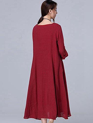 MatchLife Damen Rundhals Langarm Kleider Rot