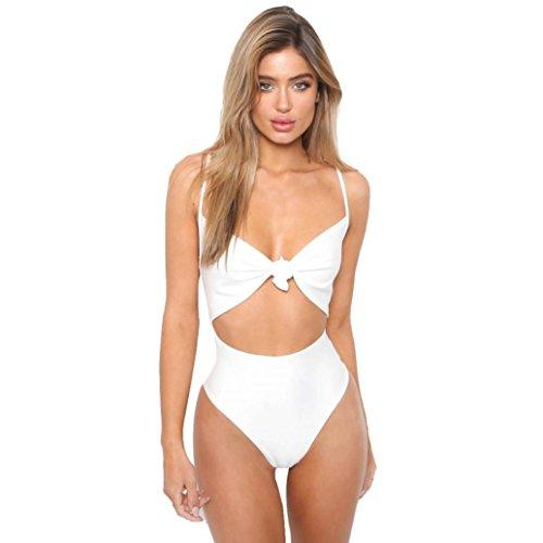Smileq sexy One Piece Bikini JumpSuit maillots de bain du Nœud pièces Cami Découpe Maillot de bain Maillot de bain, blanc, grand