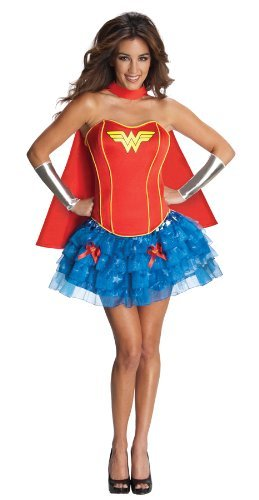 Adults Wonder Woman Ruffle Skirt Costume - Standard Size