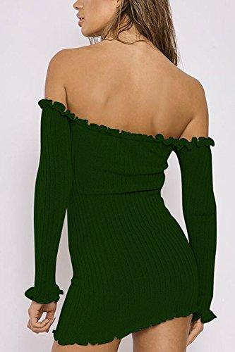 Le Donne Casual Da Spalla Solida La Maglia Bodycon Slim Mini Vestito Pullover Green