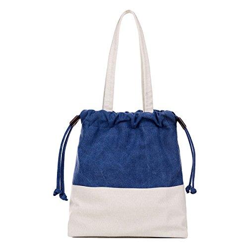 Segeltuchbeutel-Schulterbeutel Mit Einer Eimerbeutel Einfache Art Und Weise Schlagen Farbe Handtasche Blue
