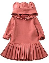 K-youth Vestidos Niña, Orejas de Conejo Ropa para Niñas Bebés Ropa De Manga Larga con Capucha Vestido De Princesa Vestidos De Fiesta Infantil en Oferta