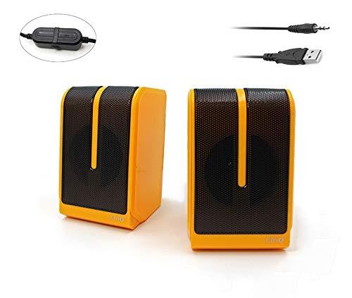 LinQ® PC Notebook Lautsprecher 2. 0, A3500 mit Lautstärkeregler (USB, 3, 5 mm Klinke, 3 W, aktive Boxen für Computer, Laptop, Notebook, Smartphone, Tablet) gelb