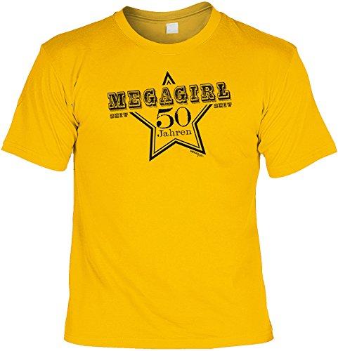 Cooles T-Shirt zum 50. Geburtstag MEGAGIRL seit 50 Jahren Geschenk zum 50 Geburtstag 50 Jahre Farbe: gelb Gelb