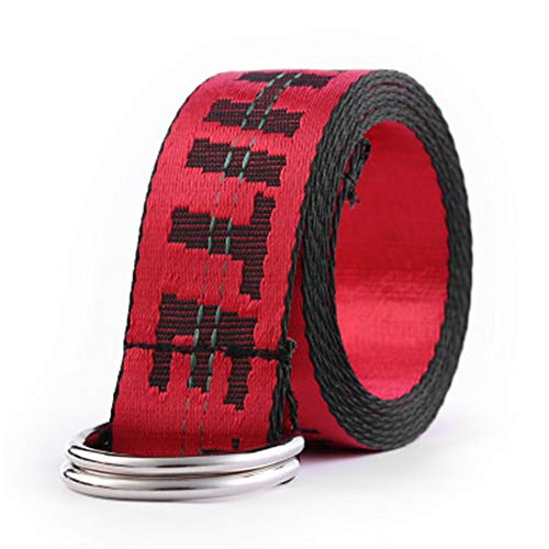 goahead Ow belt yellow letter double ring buckle wild decoration casual OFF canvas belt boys girls WHITE belt men women