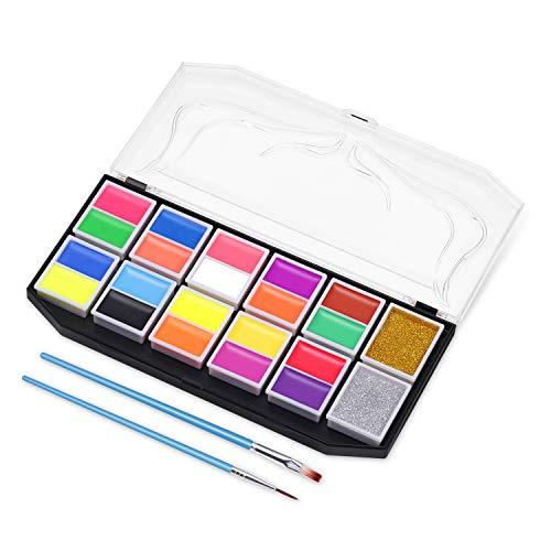 Körperfarbe Set Körpermalfarbe Schminkpalette 22 Farben Kinderschminke Set Face Paint Hochwertiges Facepainting 10 fluoreszierende Farben, 10 matte Farben und 2 lose Pulver Schminkset ()