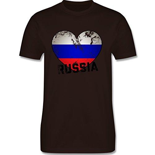 EM 2016 - Frankreich - Russia Herz Vintage - Herren Premium T-Shirt Braun