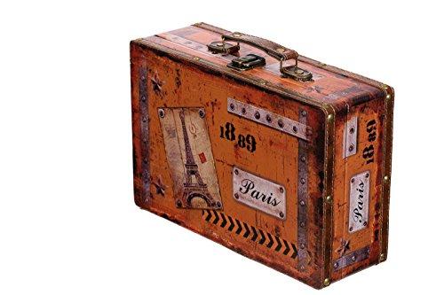 Truhe Kiste SJ 15369 Koffer , Kofferset , Holztruhe mit Leder bezogen im Vintage Look, Schatzkiste,Kiste, Piratenkiste, Kleinmöbel, Mit Metallbeschlägen, Antikoptik, Holz, verschieden Größen, Maritim, Deko, Hochwertig, Kolonialtruhe, Kolonialstil, Holzbox, Truhe mit Ornamenten . (Größe L Paris ( 31cm B x 20cm T x 10cm H )) (Leder-koffer)