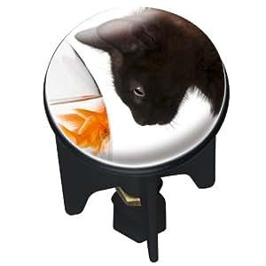 Wenko 20717100 Waschbeckenstöpsel Pluggy Cat Abfluss Stopfen, Messing, Kunststoff, Durchmesser 3.9 x 6.5 - 9.5 cm