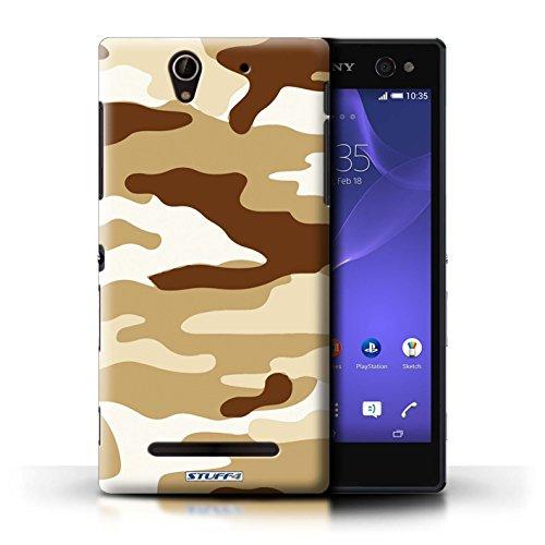 Kobalt® Imprimé Etui / Coque pour Sony Xperia C3 / Rose 1 conception / Série Armée/Camouflage Marron 2