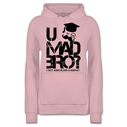 Shirtracer Abi & Abschluss - U MAD BRO? I got Abschluss u Know. - XS - Hellrosa - JH001F - Damen Hoodie
