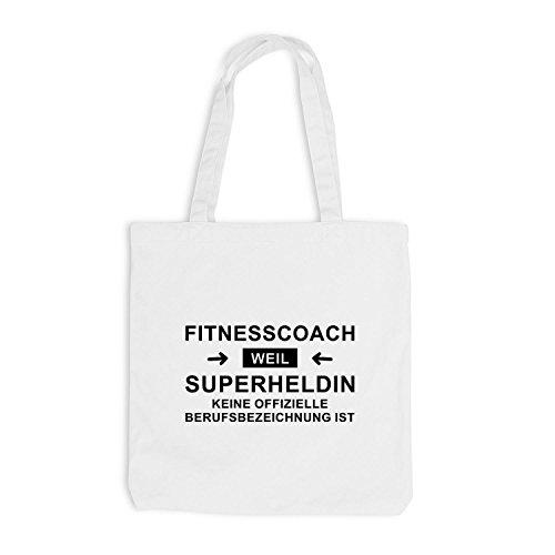 Jutebeutel - Fitnesscoach Superheldin - Hero Beruf Coach Weiß