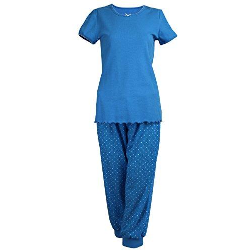 Cybele Damen Pyjama Set Kurzer Arm Shirt + 3/4 Hose Oberteil und Sweathose Gr. 38 Schlafanzug Hausanzug (Arm Kurzer Set)
