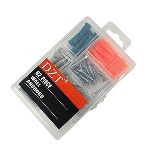 MMLC 62pcs Schrauben- und Wandanker-Sortiment-Kit Kunststoff-Expansionsrohre und -Schrauben (Mehrfarbig) (Gerippten T-shirt Leichtes)