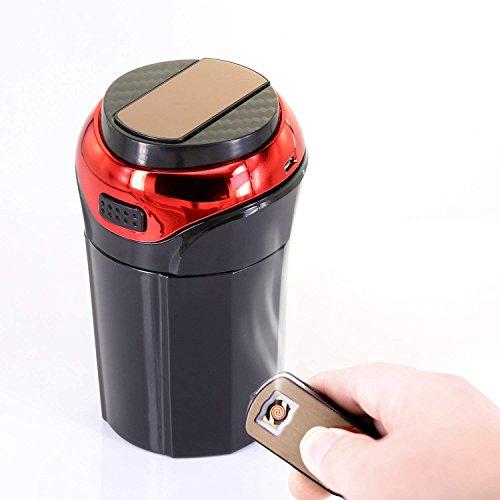 Avril Tian Auto Aschenbecher, Tragbar Aschenbecher Cup mit Abnehmbarer Rauchfreie Leichter und Blau LED-Licht USB Wiederaufladbar KFZ Aschenbecher mit Deckel Rot