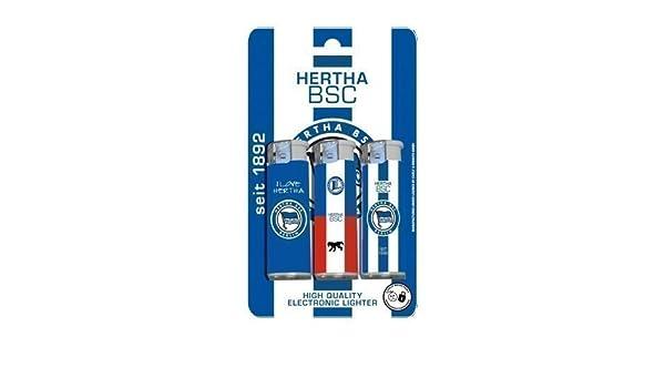 Hertha BSC Berlin Feuerzeug Elektronikfeuerzeug 3 St/ück im Set