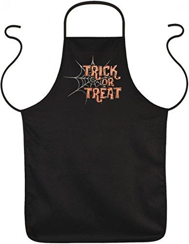 Grill und Koch Schürze - Trick or Treat - lustiger Spaß Kittel als lustiges bedrucktes Geschenk zu Halloween Humor Gag