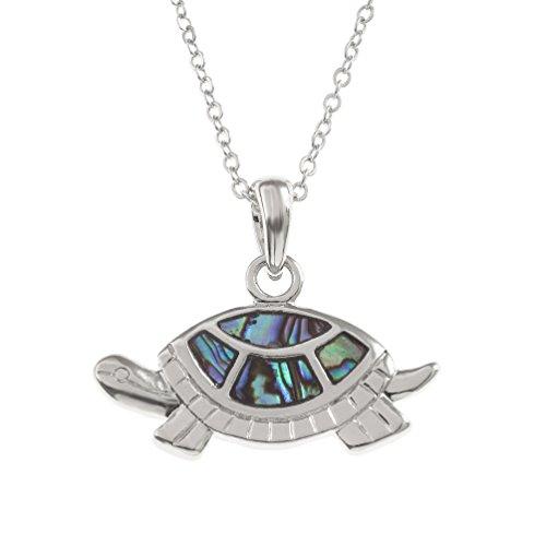 Kiara Schmuck Schildkröten Anhänger Halskette mit natürlichen grünlichen blau intarsiert Paua Abalone Shell auf 45,7 cm Trace Kette. Silber Farbe, Rhodiniert, Anlauf Geschützt.
