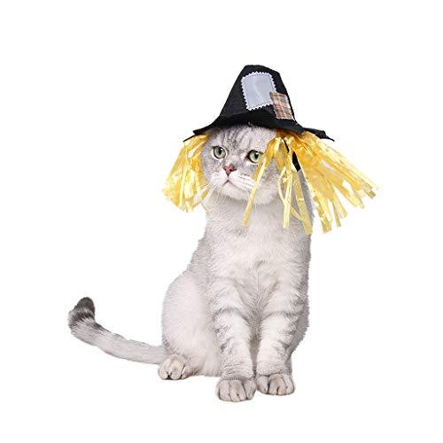 Halloween Pet Nylon Hut Karneval lustig Patch Vogelscheuche Hut Haustier Hund und Katze Kostüme für Urlaubspartys wie Halloween, Weihnachten und Ostern (Farbe: schwarz) (größe : S)