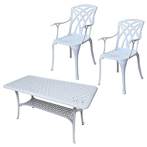 Lazy Susan - Claire Rechteckiger Garten Beistelltisch mit 2 April Stühlen - Gartenmöbel Set aus Metall, Weiß