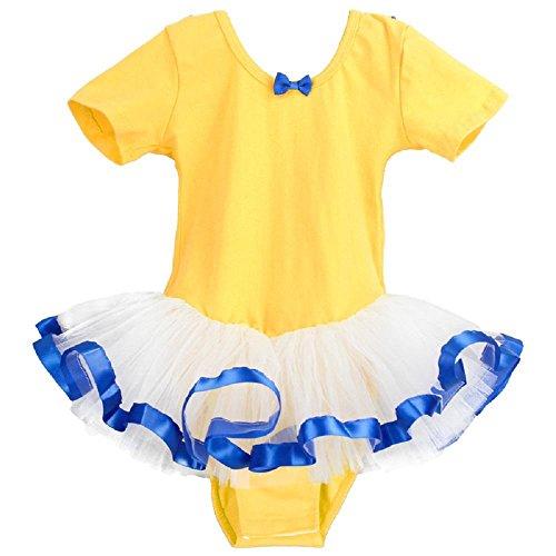 Kind lateinisch Tanz-Outfit Mädchen Ballett Kleider Spitze Gymnastik Kleid Praxis Kleidung , yellow , 5xl (height (Kostüme Mit Tanz Flügeln Lyrische)