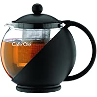 Café Ole Everyday Round Tea Pot Infuser Basket Glass Teapot Loose leaf, Black, 700 ml/24 oz