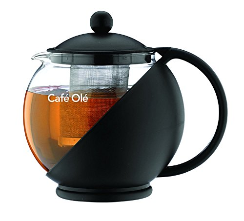 Café ole everyday cmp-07tp, infusore teiera con cesto, nero, 700 ml/24 oz