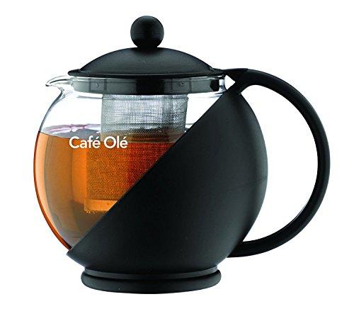 Café Ole Everyday Round Tea Pot Infuser Basket Glass Teapot Loose leaf, Black, 700 ml/24 oz