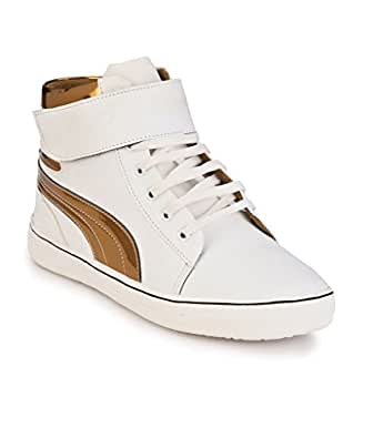 SHOE DAY Men's Faux Leather White Casual Shoes 6 UK