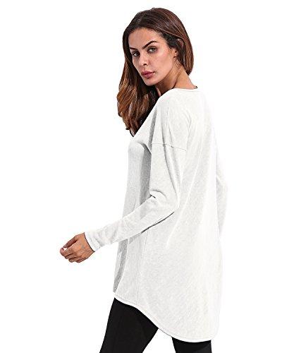 StyleDome Donna Canotta Camicetta Autunno Maglietta Manica Lunga Blusa Sexy Girocollo Tops Ufficio Bianco