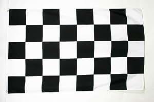 DRAPEAU DAMIER NOIR ET BLANC 150x90cm - DRAPEAU À DAMIERS - COURSE AUTOMOBILE - FORMULE 1 90 x 150 cm - DRAPEAUX - AZ FLAG
