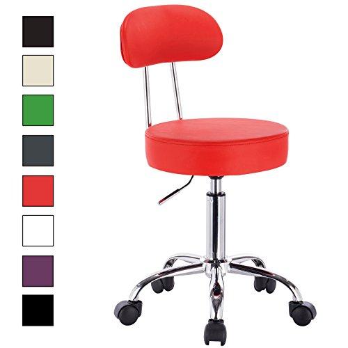 WOLTU® Arbeitshocker BH34rt-1-c Rot Drehhocker Rollhocker Drehstuhl Hokcer Bürostuhl Praxishocker mit Rollen und Lehne 360° drehbar