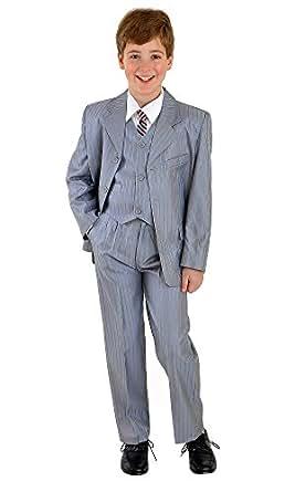 "5tlg Kinderanzug,Kommunionsanzug,Babyanzug,Taufanzug,Anzug ""Benni""silbergrau mit Nadelstreifen Gr.92-98 Sakko+Weste+Hemd+Krawatte+Hose"