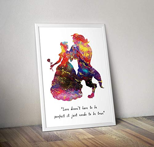 Schöne und das Biest inspiriert Poster - Belle Aquarell Print - Alternative TV/Movie Prints in verschiedenen Größen (Rahmen nicht im Lieferumfang enthalten) -