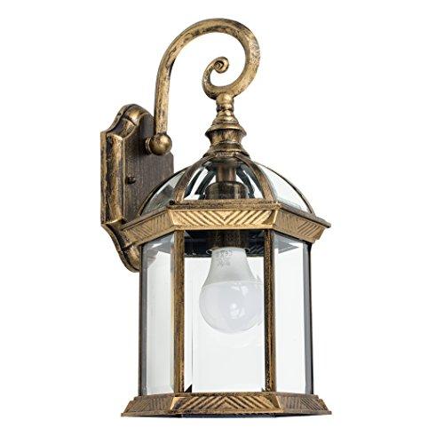 MiniSun - Tradicional lámpara exterior- farol colgante de pared - IP23, en aluminio dorado...