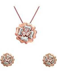 Mahi Crystal Floral Heart Rose Gold & Rhodium Plated Pendant Set For Women NL1102718Z